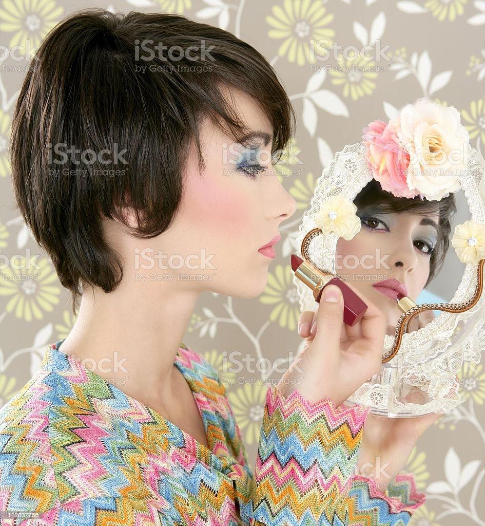 retro woman mirror lipstick makeup tacky royalty-free stock photo