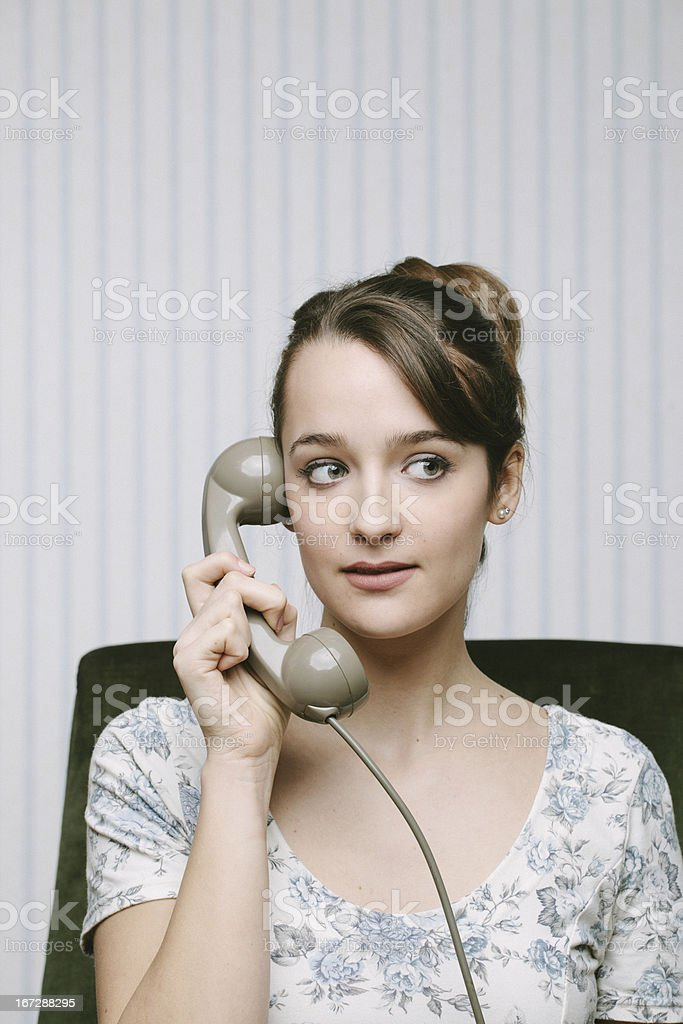 Retro Woman on The Phone royalty-free stock photo