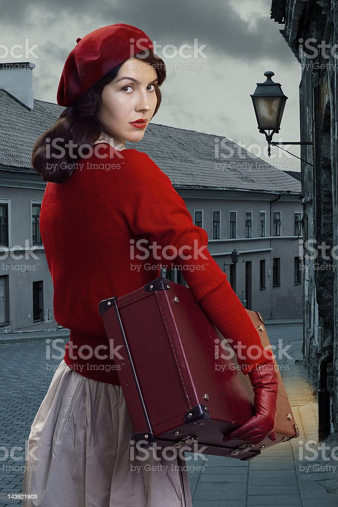 Retro woman stock photo