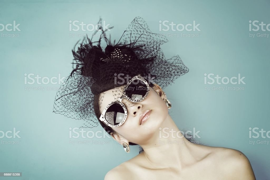 Retro Woman Portrait. Vintage Style Girl Wearing Old fashioned Hat. stock photo