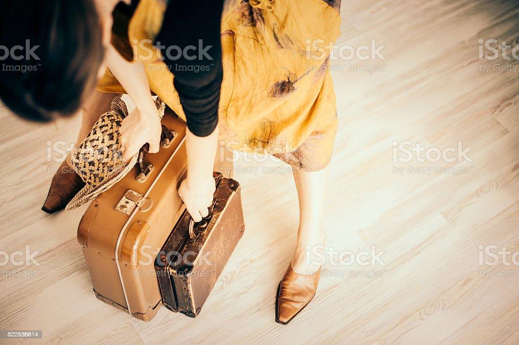 Retro Woman traveling stock photo