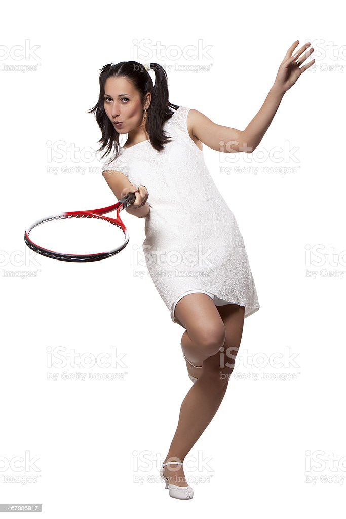Retro Woman with a tennis racket royalty-free stock photo