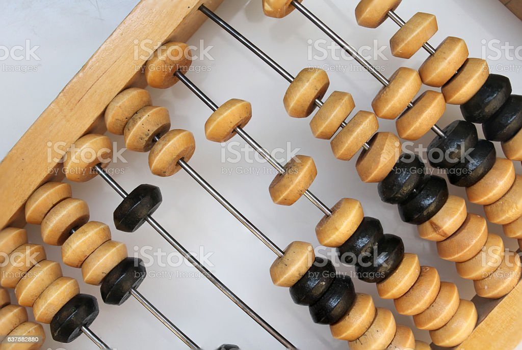 Retro wooden abacus close up stock photo