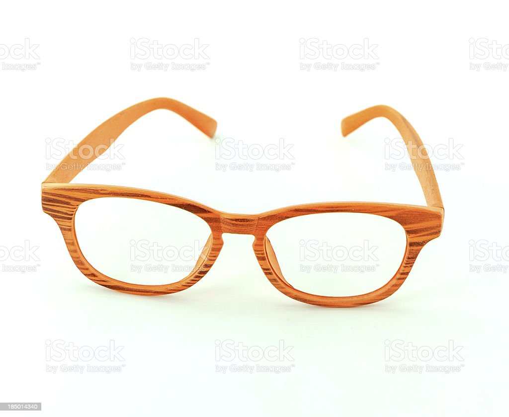 retro wooden glasses isolated royalty-free stock photo