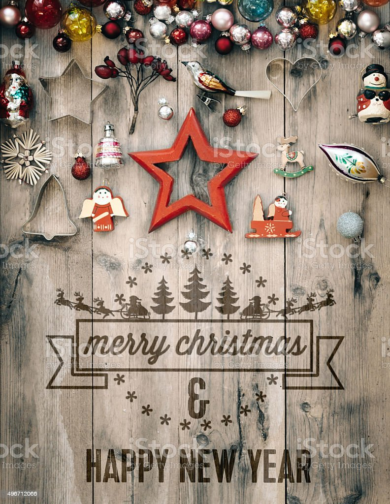 retro wooden rustic background with christmas sign embossing stock photo