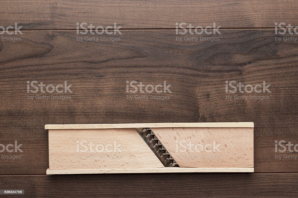 retro wooden shredder stock photo