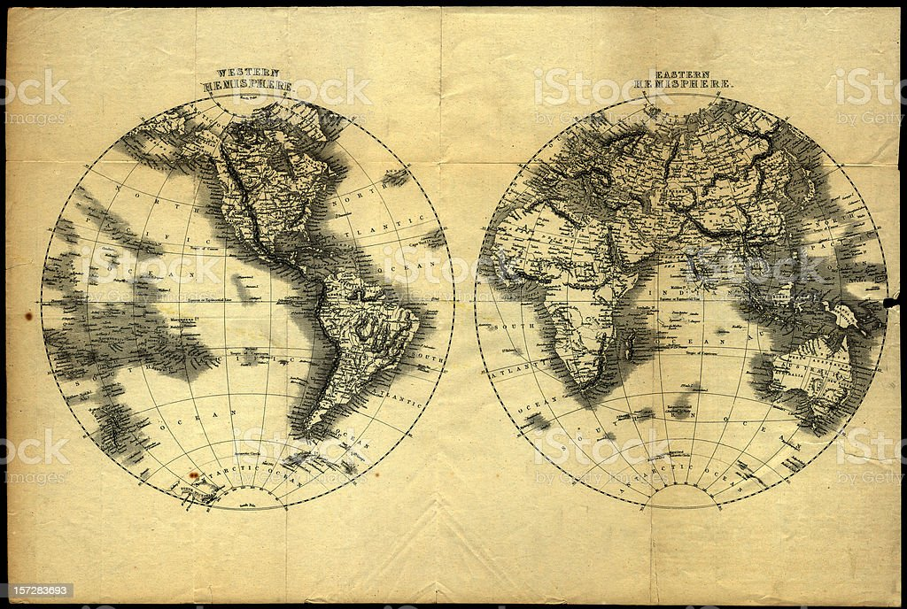 retro world map (high res) stock photo