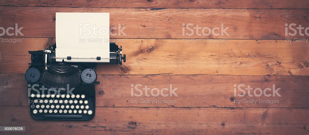 retro writers desk hero header stock photo