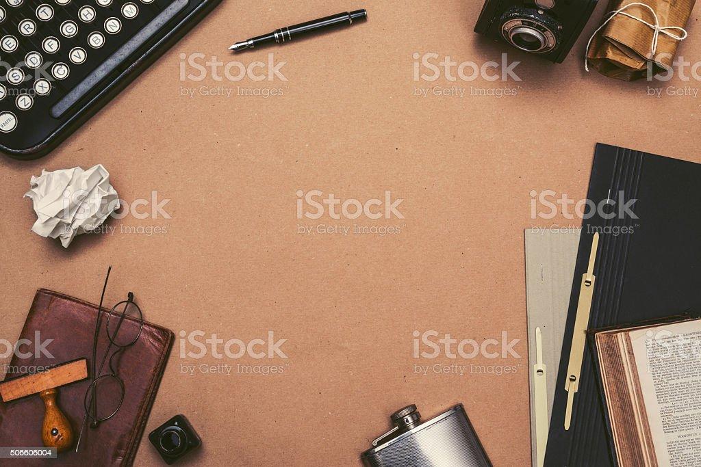 Retro writers desk hero header stock photo