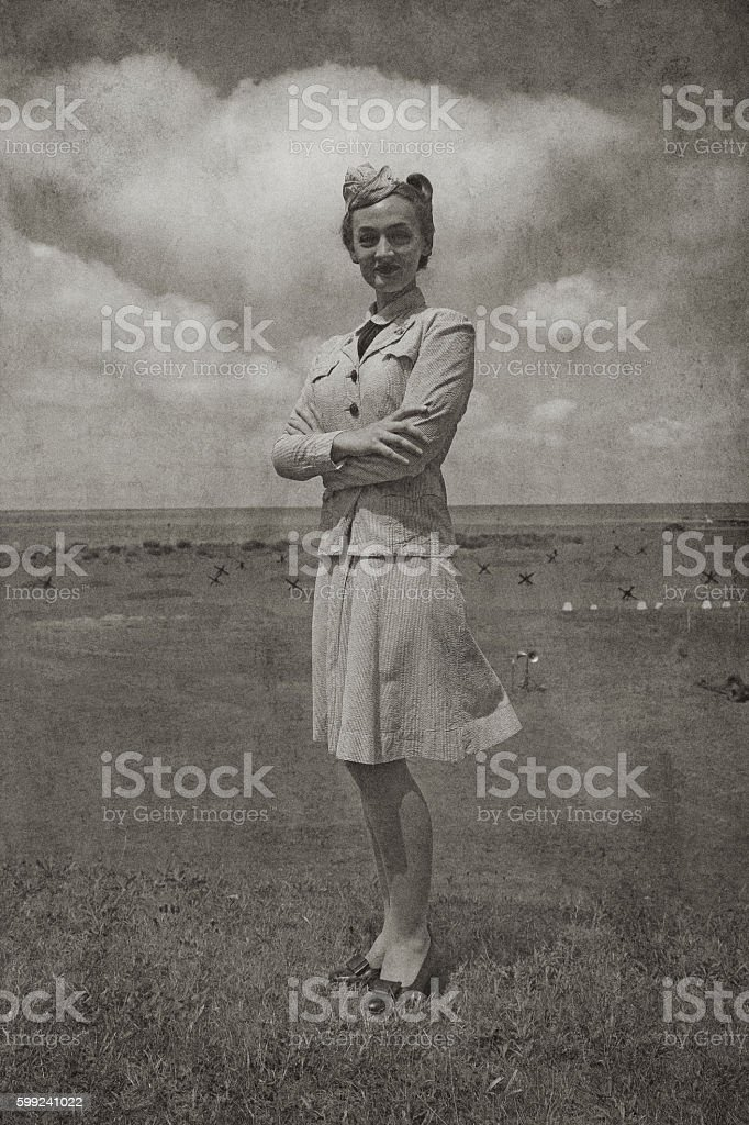 Retro WW2 Navy Soldier Woman stock photo