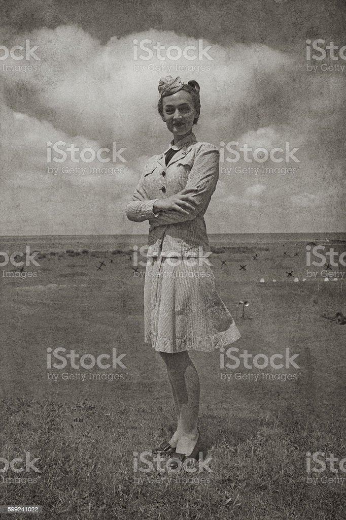 Retro WW2 Navy Soldier Woman stock photo