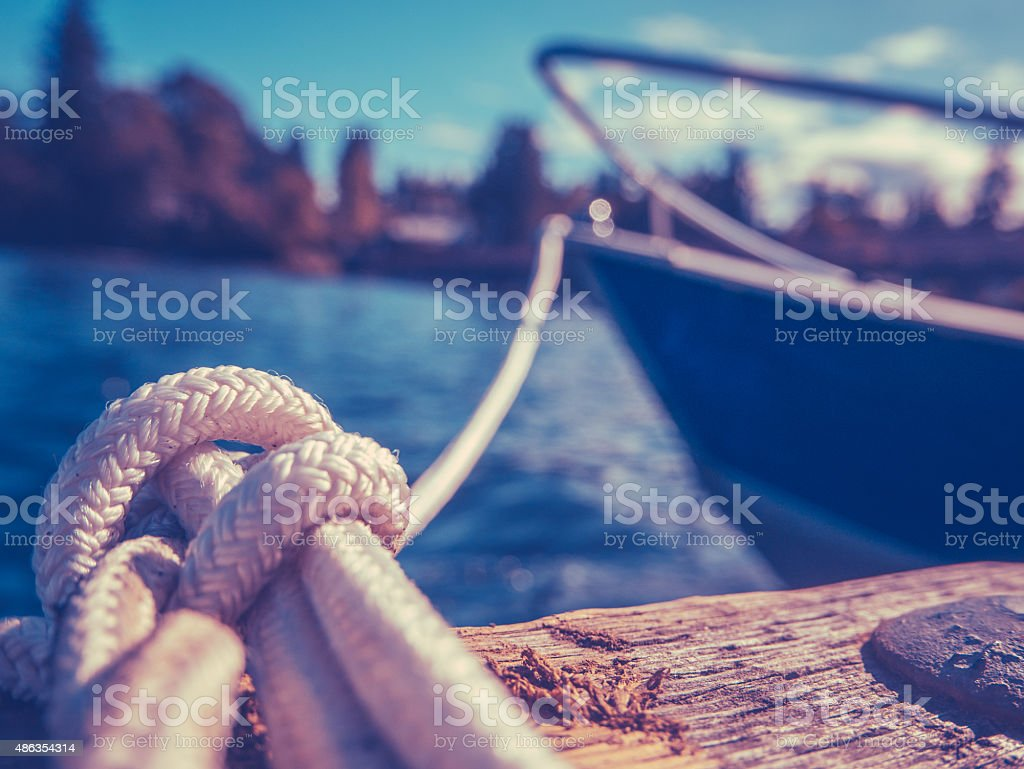 Retro Yacht In Harbor stock photo