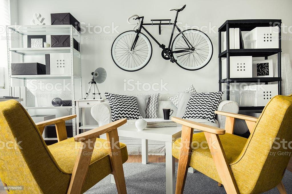 Retro yellow chairs stock photo