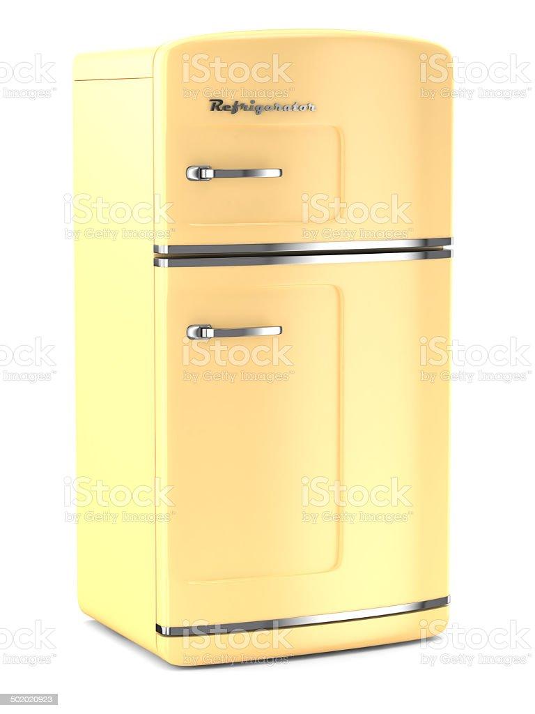 Retro yellow fridge stock photo