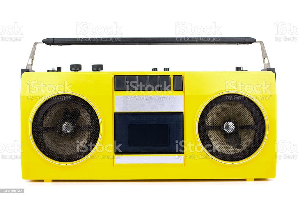 Retro yellow ghetto blaster isolated on white with clipping path stock photo