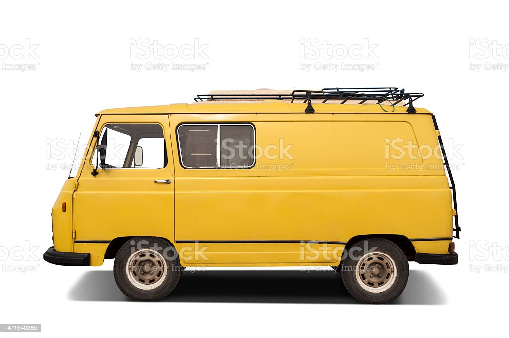 Retro yellow van isolated on a white background stock photo