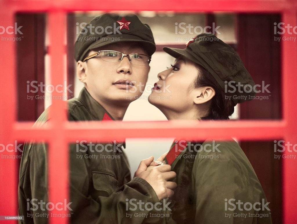 Retro young asian couple royalty-free stock photo