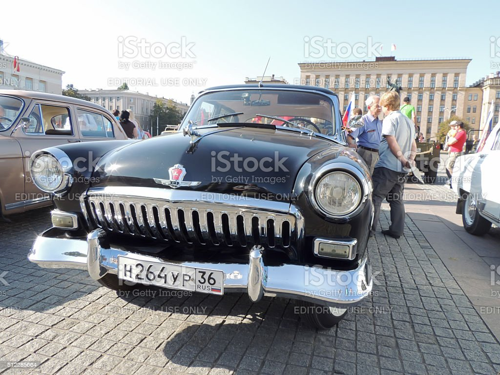 Retrocar GAZ M21 Volga of the Series Two black color stock photo