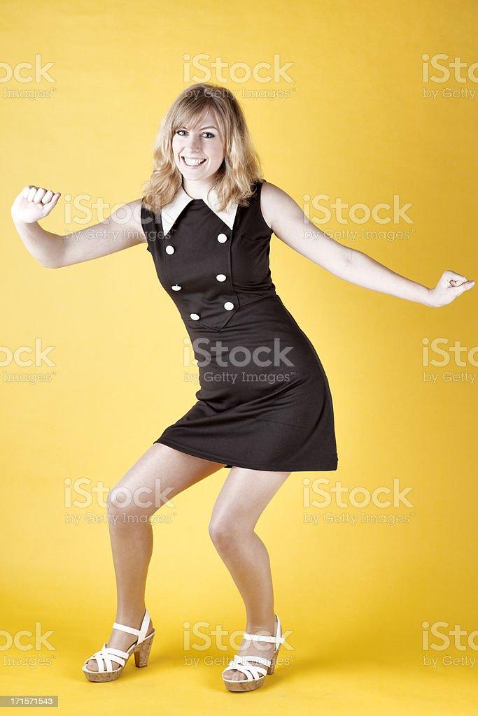 Retro-colored Photo Of A 1960s Dancer Twisting stock photo
