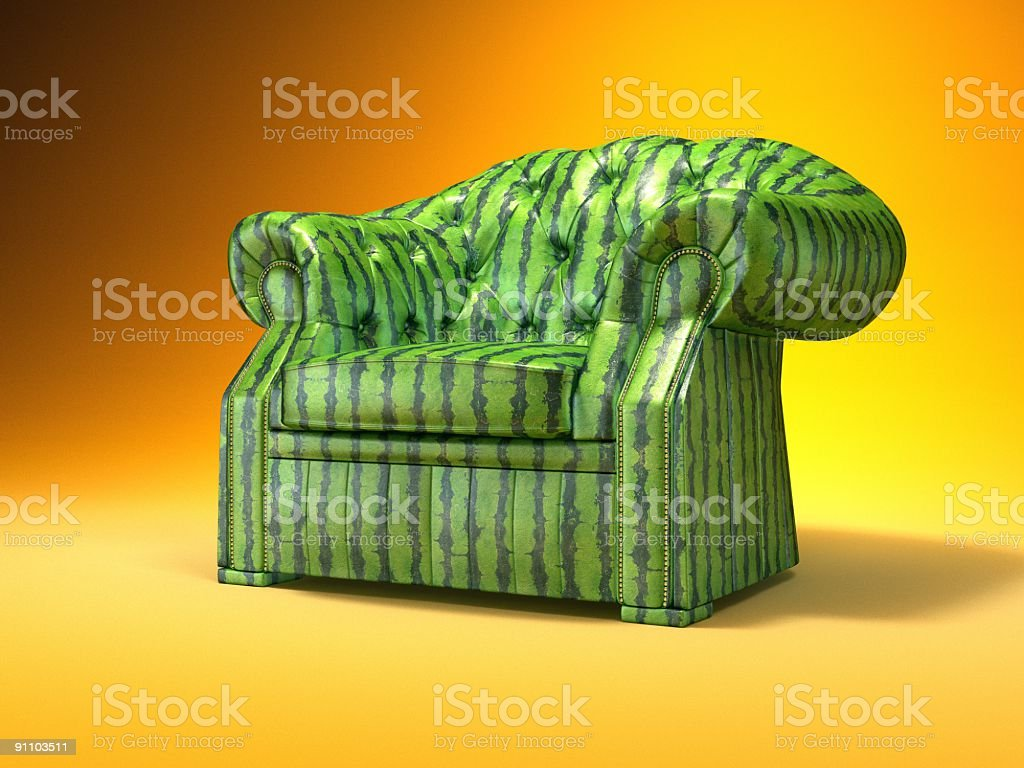 Retro-styled classic armchair. (Water-Melon Texture). royalty-free stock photo
