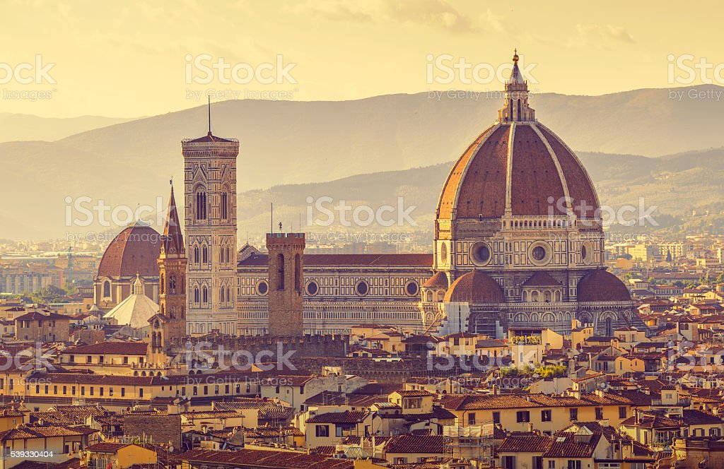 Retro-styled view to santa maria del fiore cathedral in florence stock photo