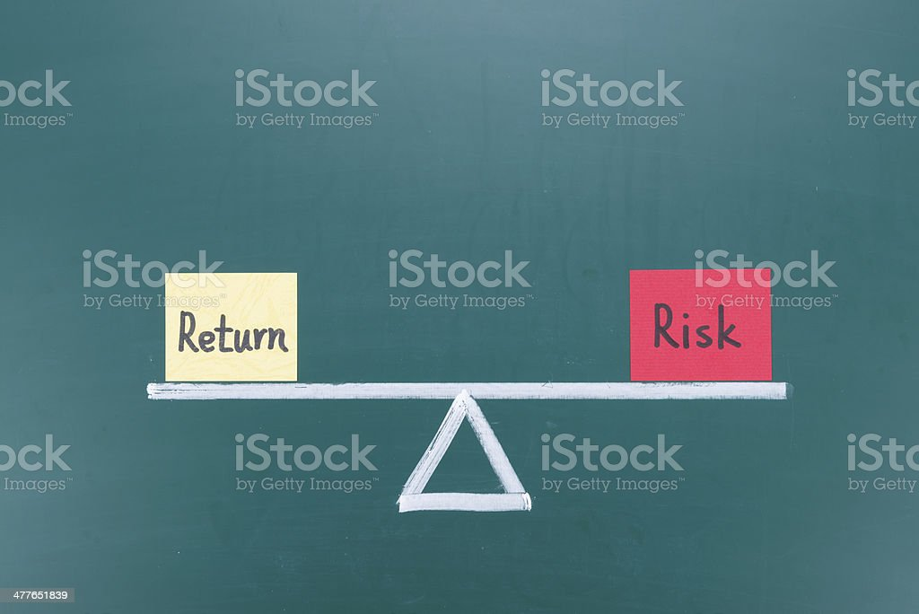 Return and risk balance concept stock photo