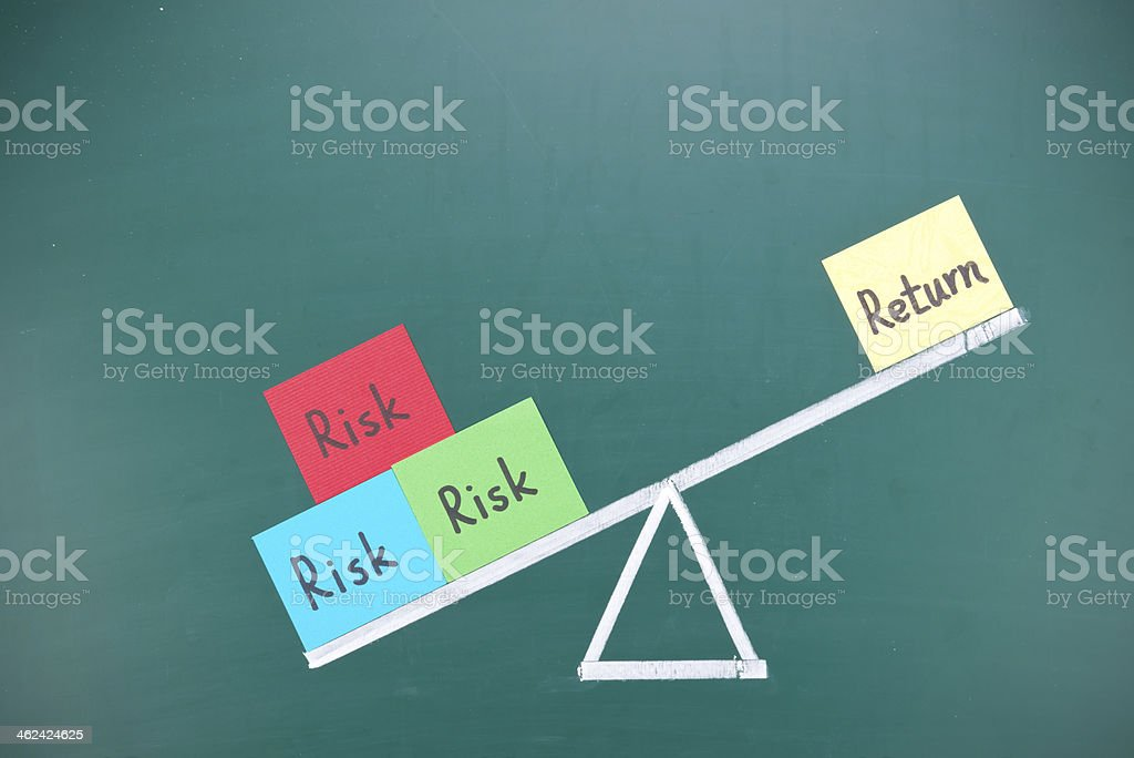 Return and risk imbalance concept stock photo