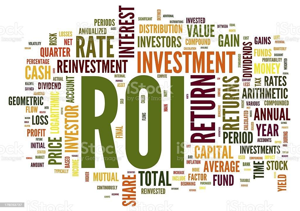ROI - return of invertelment concept in word tag stock photo