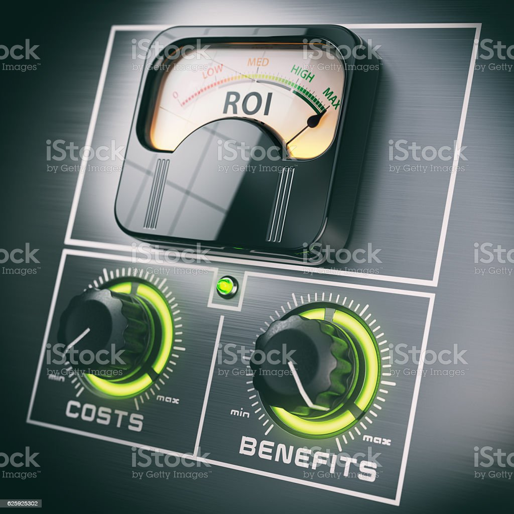 Return on Investment concept. ROI and benefits in the maximum stock photo