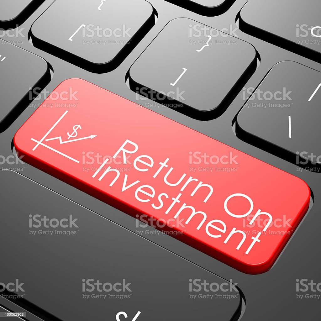 Return on investment keyboard stock photo