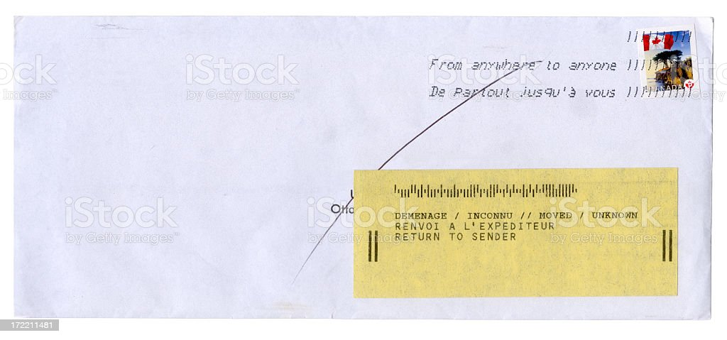 Return to sender letter stock photo