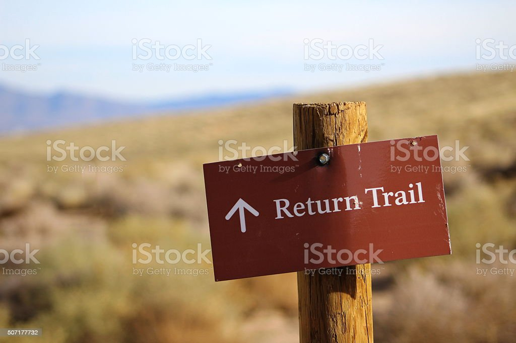 Return Trail Sign stock photo