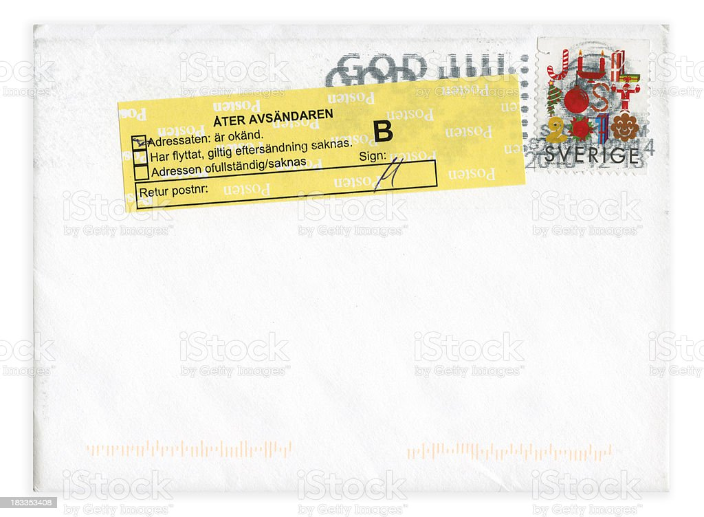 Returned mail with Christmas stamp stock photo