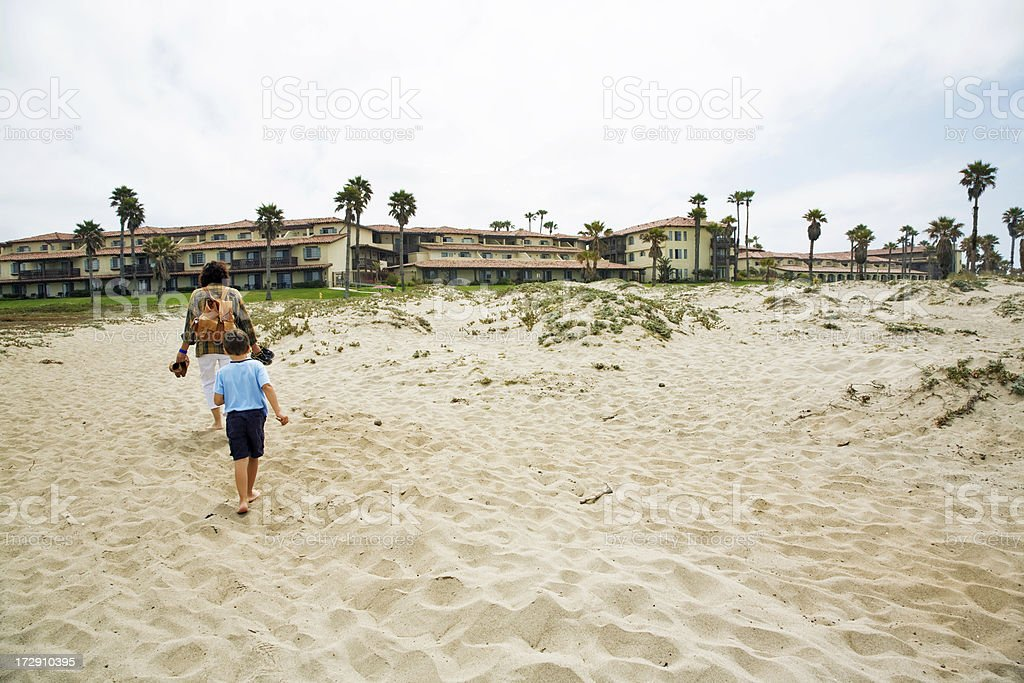 Returning From A Beach royalty-free stock photo