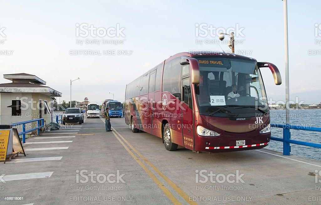 Returning Tour Bus stock photo