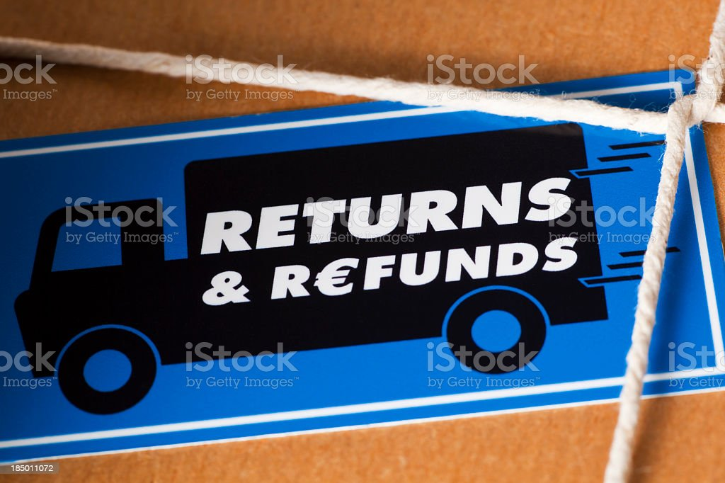 Returns and Refunds Package Euro Currency stock photo