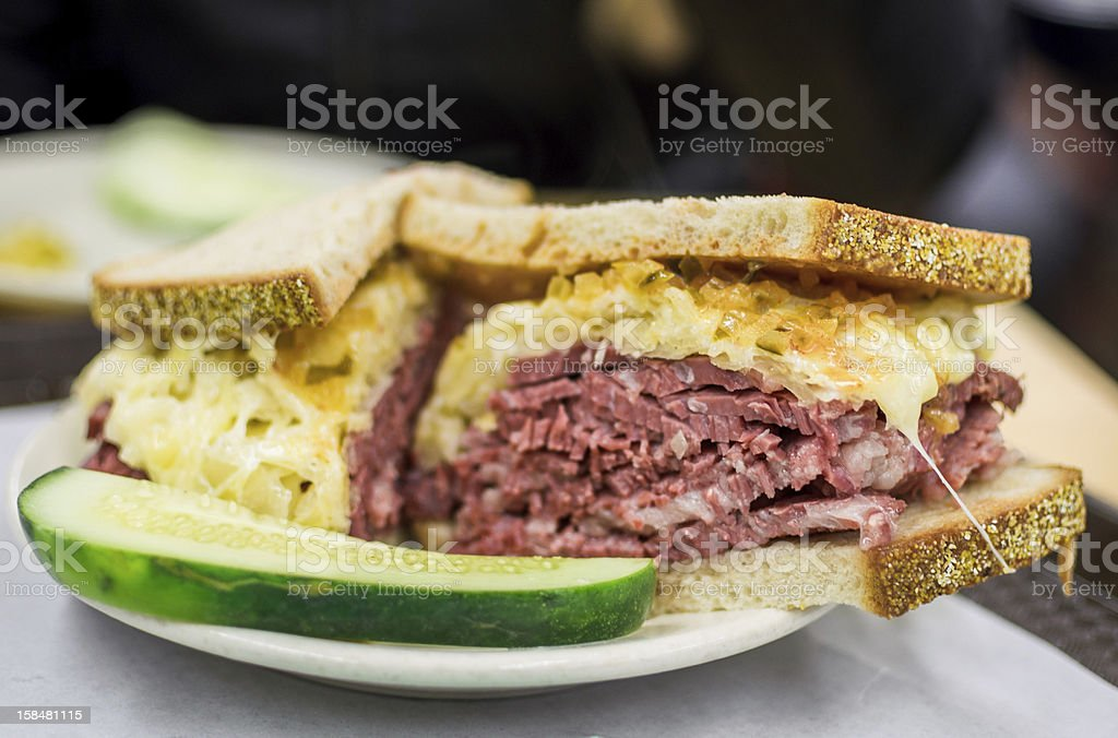 Reuben Sandwhich with Pickle stock photo
