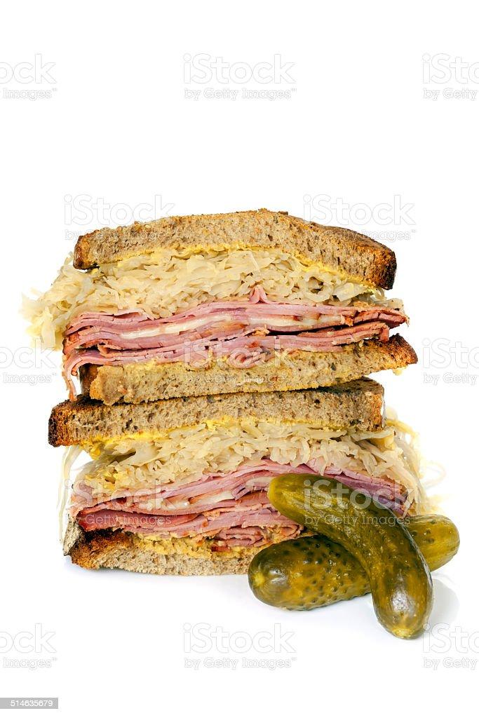 Reuben Sandwich Isolated on White stock photo