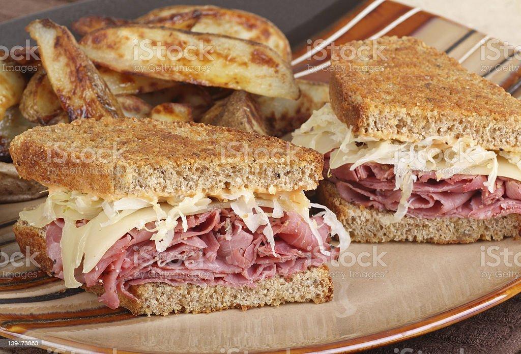 Reuben Sandwich Meal stock photo
