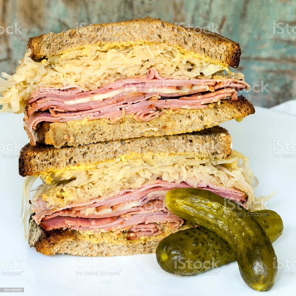 Reuben Sandwich with Dill Pickle stock photo