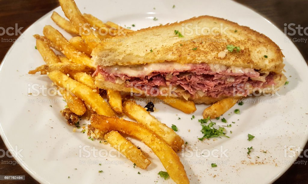 Reuben Sandwich with Fries stock photo