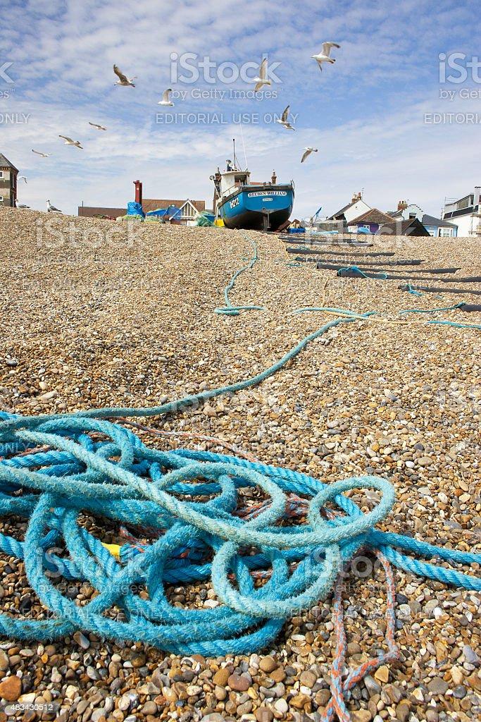 Reuben William fishing boat, Aldeburgh beach, Suffolk, UK stock photo