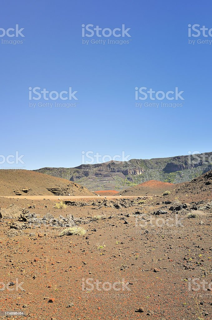 Reunion Crater Winding Exit Entrance Road royalty-free stock photo
