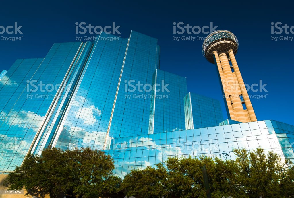 Reunion Tower and Hotel stock photo