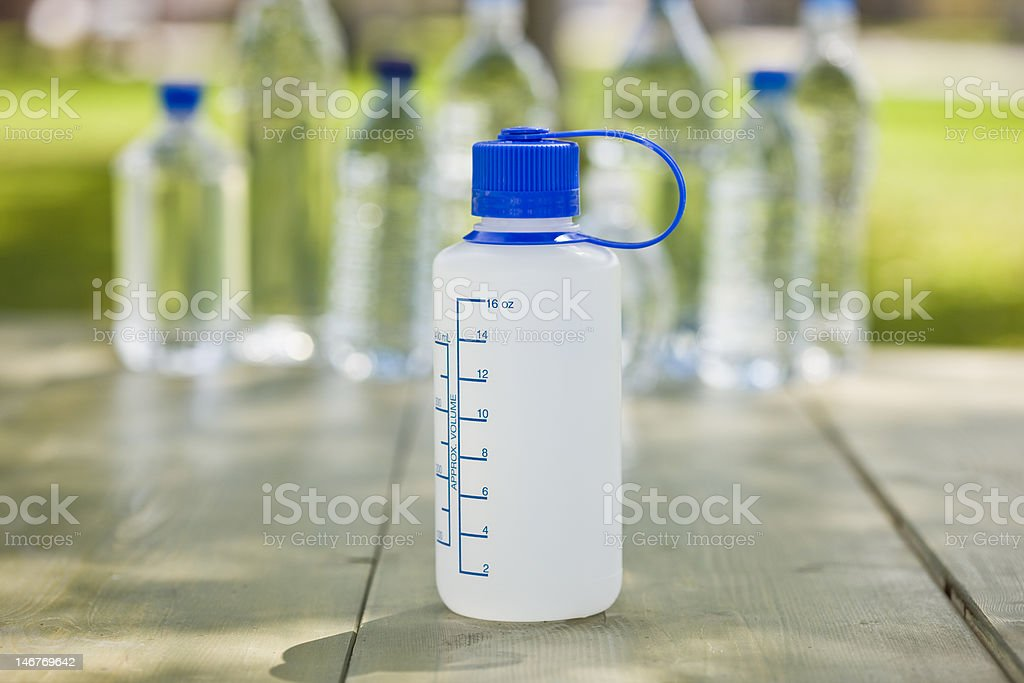 Reusable Plastic Bottle with measurements royalty-free stock photo