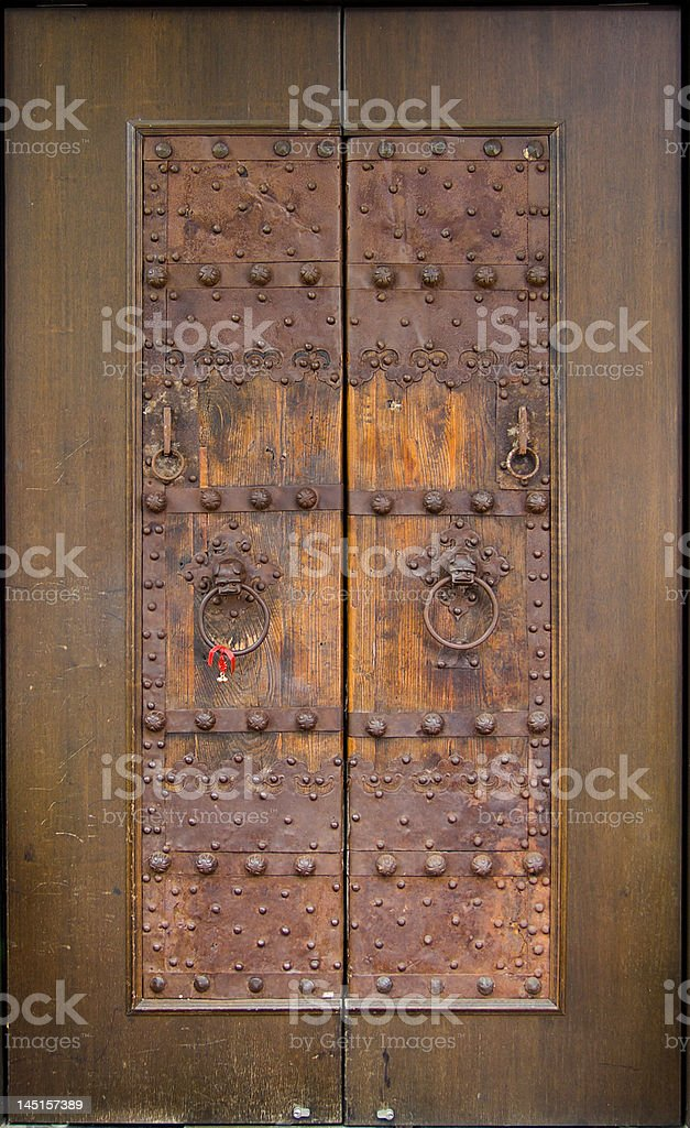 Reused Ancient Chinese Brass-reinforced Door royalty-free stock photo