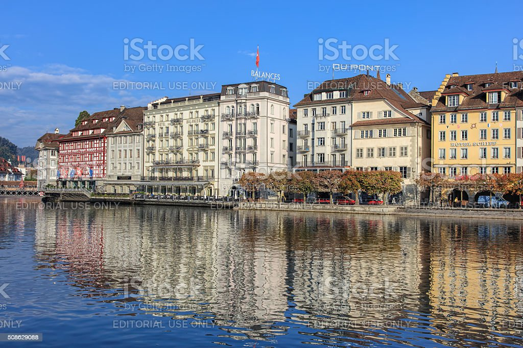 Reuss river and the St. Karliquai quay in Lucerne stock photo