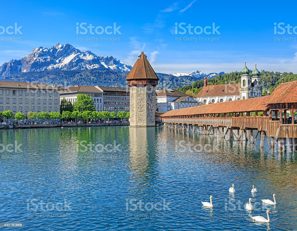 Reuss river in Lucerne, Switzerland stock photo