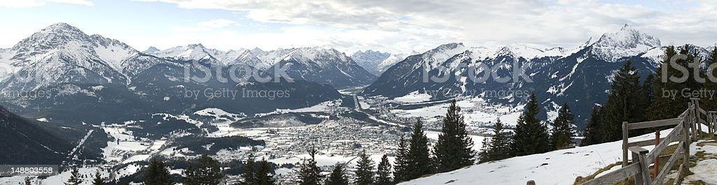 Reutte in Tyrol XXL Panorama from Mountain stock photo