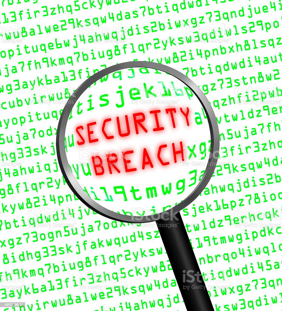 SECURITY BREACH revealed in computer code stock photo